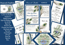 Peacock Feathers  Wedding Invitation Kit on CD