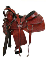 COWBOY WESTERN ROPING SADDLE SET HORSE RANCH FLORAL TOOLED LEATHER 15 16 17 18