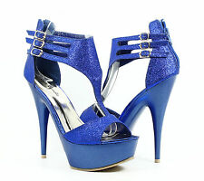 Blue nn Open Toe Platforms Strappy Womens High Heels Sandals Shoes Size 6.5