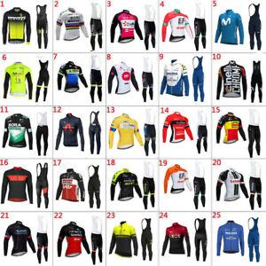 Mens cycling jersey long sleeve Bib pants Uomo Lunga ciclismo maglia e pantalone