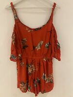RED FLORAL STRAPPY PLAYSUIT 14 SUMMER BEACH IBIZA MARBS SUN FESTIVAL PRETTY