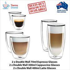 2 x Espresso, 2 x Cappuccino, 2 x Latte Double Wall Cups Mugs Glasses Glass Set