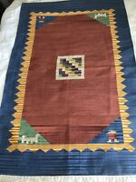 Large Size Woven Textile with Fringe 6' x 4' Multi Colors Man Animal Figures