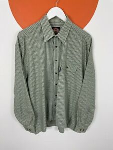 Men's Vintage Dickies Long Sleeve Checked Shirt Top Green UK Size L Large