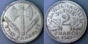1943 France 2 Franc XF Aluminum KM#904.1 piwwwp