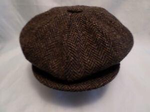 brown herringbone wool twentys thirtys style harris tweed hunting fishing cap