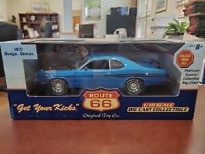 "Rare 1971 Dodge Demon Blue 1:18 Route 66 ""Get Your Kicks"" DieCast NOS"