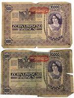 Austrian Banknote Occupied Italy November 2, 1918 Kronen 10,000 Large (Lot of 2)