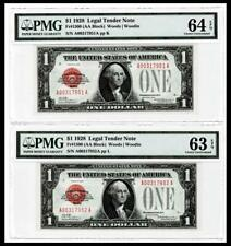 2 CONSECUTIVE 1928 $1 RED SEAL UNITED STATES NOTE ~~PMG Ch UNC 63 64EPQ