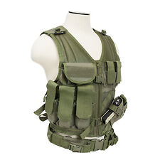 NcSTAR CTV2916G PVC Military Tactical Heavy Duty Vest w/ Pistol Holster OD Green