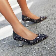 Womens Strip Pointy Toe Pumps High Heel Slip On Workwear Casual Ladies Shoes Sz