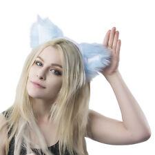 Pawstar Gatito Gato Orejas Diadema-Peludo Disfraz Cosplay Azul Claro [KLB] 3051