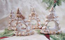 Plaster Napkin Holders Rings Hand Painted Christmas Tree Set Of 4 White Gol