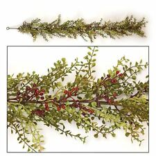 New Baby Grass Burgundy Berry Garland Country Cottage Primitive Vine Swag Twig