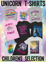 Boys and Girls Unicorn and Kitten Rainbow Colours Themed T-Shirts Birthday Gift