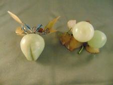 Marble stone fruit pear cherry green leaf decorative table setting art vtg onyx