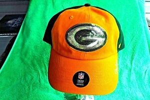 NEW RARE OOP GREEN BAY PACKERS '47 CLEAN UP SEQUIN SPARKLE WOMEN'S BASEBALL CAP!