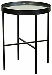 "26.5"" T Set of Two Side Table Black Steel Frame Wrapped Mirror Glass Tray Top"