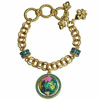 "Ritzy Couture ""World Around Us"" Earth Globe Charm Multicolor Bracelet (Goldtone)"