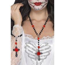 Women's Day Of The Dead 2 Piece Rosary Bead Set Fancy Dress Halloween Horror Fun