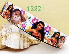 "1 M 7/8"" Disney Princess MOANA GROS Grain Nastro Capelli Fiocco BELLE Craft"