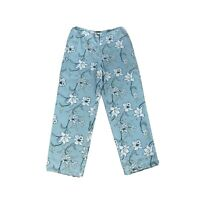 Vintage Tommy Bahama Womens Silk Floral High Waist Pants Lined Blue Size 16