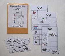 Teacher Made Literacy Center Resource Game Rhyming Families og, op, oo & ot