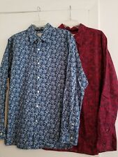 Lot of 2 Madison Paisley Button Front Shirts Long Sleeves in size M/L