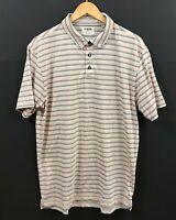 LINKSOUL Men's Tempus Fugit Striped Luxury Cotton Polo Golf Shirt sz L Large