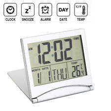 Folding LCD Smart Digital Travel Alarm Clock with Thermometer Calendar Timer New