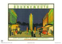 Bournemouth Framed Wall Art Vintage Travel Poster City Art