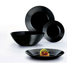 Luminarc 19 piece Dinner Set Plate Dessert Plate Soup Bowl Black UK