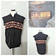 Redneck Trucker Grunge Shirt Men's L Canyon Guide Black Pearl Snap inv#S8094