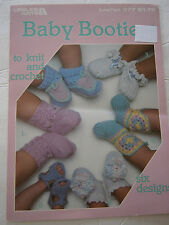 Vintage 1985 Baby Bootie Knit Crochet Pattern 6 Designs Leisure Arts Leaflet 377
