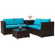 Rattan 4 Pc Patio Garden Pe Wicker Storage Sofa Furniture Set Outdoor Indoor