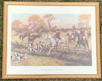 "Vintage George Wright Litho Print ""Full Cry Through The Homestead"" Framed"