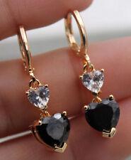 18K Yellow Gold Filled - Black Onyx Heart Topaz Zircon Hoop Club Gems Earrings