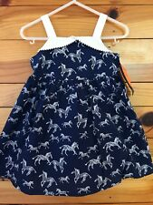 *NWT GYMBOREE* Girls BLUE SAFARI Navy Zebra Print Dress w/Pom Pom Trim Size 4T