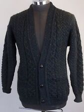 CARRAIG DONN Mens Green Tweed Aran Wool Fisherman Knit Cardigan Sweater S