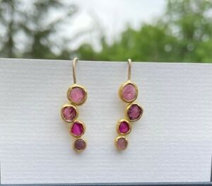 Solid 24 K gold ruby earrings Pippa Small style