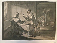 Burin, scène de genre, Intérieur Flamand, Visscher, XVIIe