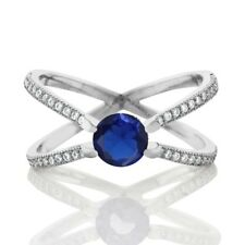 """1.33 Ct Round Blue Simulated Sapphire 925 Sterling Silver Criss Cross """"x"""" Ring"""
