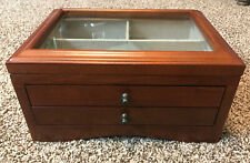 POTTERY BARN WOOD JEWELRY CASE WITH GLASS