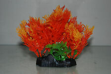 Aquarium Orange & Green Plant Flora With Weighted Base 10 x 5 x 13.5 cms