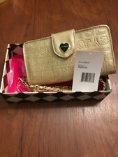 "Betsey Johnson ""Celly"" Wallet Embossed Logo Wristlet Gold Heart Fits Smart Phone"