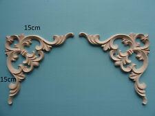 Par de desplazamiento de madera de gran corazón Apliques Muebles moldeo Onlay Decorativo D205