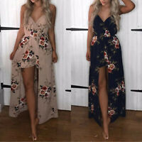 Womens Maxi Dress with Shorts Romper Floral Long Dresses Summer Party Cocktail