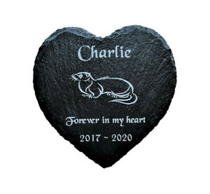 Personalised Engraved Slate Heart Pet Memorial Grave Marker Plaque for a Ferret