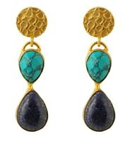 Brand New Handmade Turquoise & Lapis Lazuli 18k Gold Plated Hanging Earrings