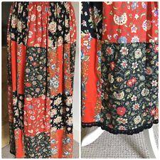 Vintage Cotton Real 70s Patchwork Maxi Skirt Folk Prairie Hippy Boho Old Fabric